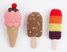 amigurumi ice cream {shared on fb} Crochet Diy, Crochet Cake, Crochet Amigurumi, Crochet Food, Love Crochet, Amigurumi Doll, Crochet Crafts, Crochet Dolls, Crochet Projects