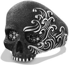 David Yurman Waves Large Skull Ring with Black Diamonds in Black for Men