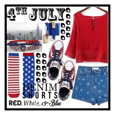 """Untitled #566"" by bloom02192004 ❤ liked on Polyvore featuring Valentino, Converse, Topshop, redwhiteandblue and july4th"