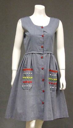 Vintageous, LLC - Blue Chambray Vintage Dress w/ Floral Embroidered Pockets, $92.00 (http://www.vintageous.com/blue-chambray-vintage-dress-w-floral-embroidered-pockets/)