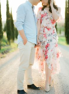 Engagement Shoot in the most beautiful cypress trees road in Tuscany Cypress Trees, Engagement Photo Inspiration, Engagement Shoots, Tuscany, Most Beautiful, Romantic, Photoshoot, Poses, Outfit Ideas