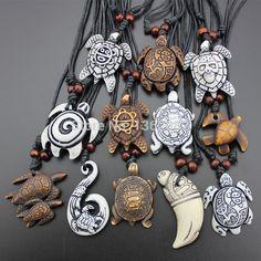 Hot Selling 12pcs Imitation Yak Bone Carving Lucky Surfing Turtles Pendant Adjustable Cord Necklace Amulet Gift MN329(China (Mainland))