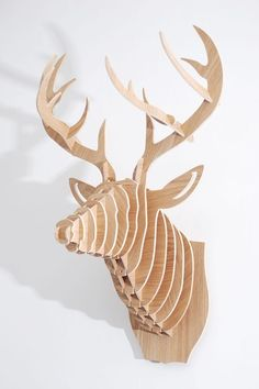 "3D Maple Deer Head by Blue Ocean Manufacturing Group  http://www.hautelook.com/short/1hdi7 ~ US$99.00 (Original: $180.00; 45% off) - Color: maple - 19"" x 25"" x 14"" - Materials : MDF"