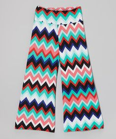 This Red & Turquoise Zigzag Palazzo Pants - Girls by Lori & Jane is perfect! #zulilyfinds