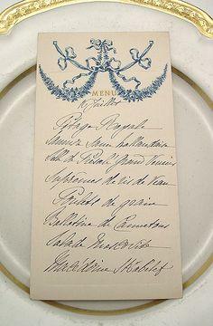 formal menu calligraphy