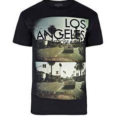 Black Los Angeles photo print t-shirt River Island, T Shirt Vest, Mens Sale, Typography, Menswear, Casual, Mens Tops, Shirts, Shopping