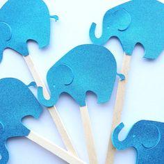 Glittery Blue Elephant Cake Picks by PicktheCake on Etsy