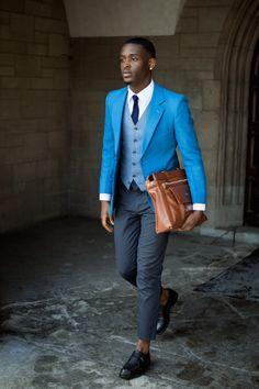 青のジャケット。