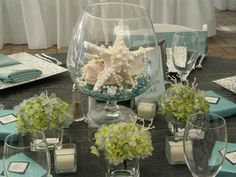 Cool unique beach theme wedding centerpieces with glass Beach Theme Centerpieces, Pearl Centerpiece, Wedding Decorations On A Budget, Simple Centerpieces, Table Decorations, Centerpiece Ideas, Thanksgiving Centerpieces, Flower Decorations, Turquesa Coral