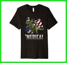 Mens Abe Riding a T-Rex in a Top Hat! PREMIUM July 4th T-Shirt Large Black - Holiday and seasonal shirts (*Amazon Partner-Link)