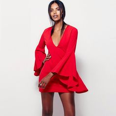 Red Long Flare Sleeve Plunge Mini Dress