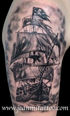 (101) Facebook Pirate Boat Tattoo, Pirate Girl Tattoos, Pirate Ship Tattoos, Pirate Ship Tattoo Thigh, Cool Tattoos For Guys, Badass Tattoos, Great Tattoos, Body Art Tattoos, New Tattoos