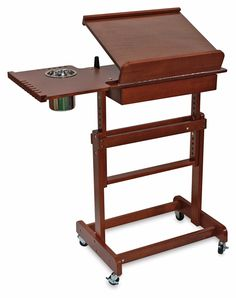 Rolling Painting Table as Easel, Front View Woodworking Basics, Woodworking Projects Diy, Rolling Table, Table Easel, Drawing Desk, Art Cart, Art Storage, Wooden Projects, Desk With Drawers
