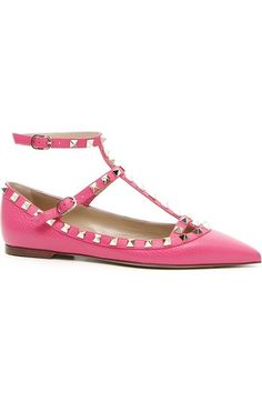 $995 Valentino 'Rockstud' T-Strap Flat (Women) available at #Nordstrom