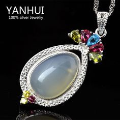 Have Jewelry Certificate Luxury Unique 5 Carat Nature Chalcedony Jade Pendant Necklace 100% 925 Silver Jewelry For Women BKN050