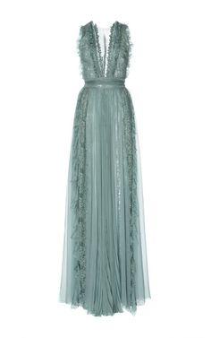 Zuhair Murad Pleated Chiffon And Lace Dress vestido longo Bridesmaid Dresses, Prom Dresses, Formal Dresses, Wedding Dresses, Lace Weddings, Outfit Trends, Looks Chic, Event Dresses, Zuhair Murad