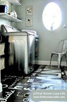 Laundry Room Reveal with painted subway floor! An inexpensive and fun  way to spruce up a boring space! #laundry #diy #paint