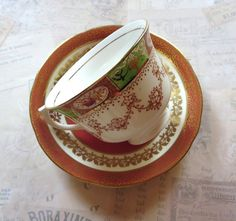 Vintage Mismatched Tea Cup/Saucer English Bone by MiladyLinden