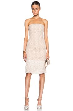 Alexander McQueen Broderie Strapless Dress in Vinyl White
