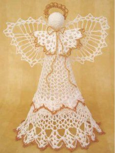 #151 Angel Victoria Tree Topper Crochet Pattern. http://www.maggiescrochet.com/angel-victoria-tree-topper-crochet-pattern-p-101.html?zenid=a387ffed2188529574b0bb0076bbd7d0#.UQbqYW80WSo The perfect Christmas tree topper add the right finish to this holiday decoration in your home. Think about crocheting the Angel Victoria Tree Topper to place on top of the tree for an angelic and delicate appearance. This gorgeous crochet angel and the appearance of a crochet doily, yet in a dimensional…