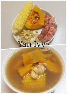 Pumpkin with Corn Soup Chinese Soup Recipes, Easy Soup Recipes, Vegan Recipes Easy, Cooking Recipes, Balsamic Carrots, Herb Soup, Malaysian Food, Malaysian Recipes, Taiwan Food