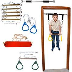 DreamGYM Doorway Gym and Indoor Swing for Children Includes Chin Up Bar, Trapeze Bar & Gym Rings Combo, Rope Ladder, Gymnastics Rings and Rope Swing