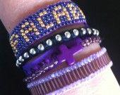 Manchette de bracelets brésiliens violets