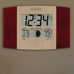 La Crosse Technology Digital Atomic Wall Clock, Multicolor