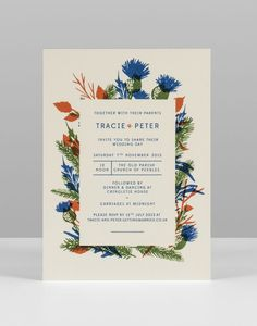 Tracie and Pete thistle illustration screenprinted wedding invitation pirrip press UK.jpg