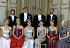 From L. to R.(up) Prince Carl Philip of Sweden, King Willem Alexander of the Netherlands, King Phillip of the Belgians, Crown Prince Haakon of Norway. From L. to R. (down)  Princess Madeleine of Sweden, Queen Máxima of the Netherlands, Crown Princess Victoria of Sweden, Crown Princess Mary of Denmark, Queen Mathilde of the Belgians, Crown Princess Mette-Marit of Norway.