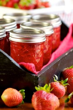 Strawberry Jam I made mine with 2 kilos fresh strawberries, 1 1/2 cups of sugar, half a lemon. Simmered for 2 hours.