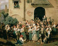 """""""Nach der Schule"""". Ferdinand Georg Waldmüller (1793-1865), Austrian painter."""