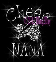 Cheer NANA C Iron on Rhinestone Transfer Bling Hot by BlingPlaza, $8.99
