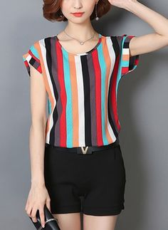 Specifications Product Name: Colorful Vertical Striped Cuffed Sleeve Blouse Weight: Sleeve: Short Sleeve Sleeve Type: Cuffed Sleeve Material: Polyester Cheap Blouses, Blouses For Women, Blouse Styles, Blouse Designs, Casual Dresses, Fashion Dresses, Fashion Blouses, Shirt Bluse, Blouse Online