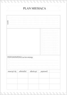 Planer miesiąca do pobrania Organization Bullet Journal, Calendar Organization, Work Planner, Planner Pages, Pocket Notebook, Diy Notebook, Study Hard, Free Prints, Bullet Journal Inspiration