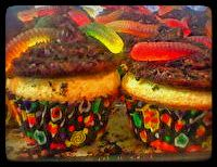 wormy dirt cupcakes sure to be a devilishly  delicious treat!
