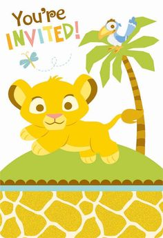 Die-cut Lion King Baby Shower Invitiations w/Seals come in packages of 8.  Each set includes post-card style invites, envelopes, seals, and save the date stickers for your guests to put on their calendars!