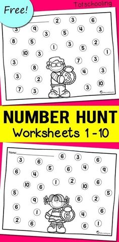 Number Recognition Worksheets - - FREE worksheets for toddlers and preschoolers to learn numbers and number recognition. Use with dabber dot markers for a fun preschool math and coloring activity! Number Recognition Activities, Preschool Number Worksheets, Teaching Numbers, Preschool Learning Activities, Preschool Printables, Free Preschool, Preschool Lessons, Free Worksheets For Kindergarten, Learning Numbers Preschool