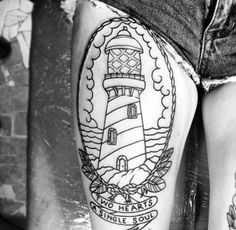 Lighthouse outline, thigh tattoo!