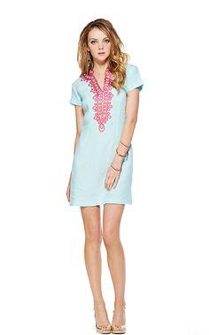 Boca Grande Tunic Dress in Spa Blue Island Soutache