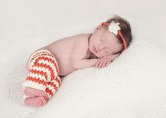 Infant leg warmers with matching headband.