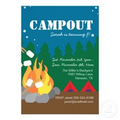 Free Camping Stationary | camping bonfire birthday party invitation boys or girls camp out party ...