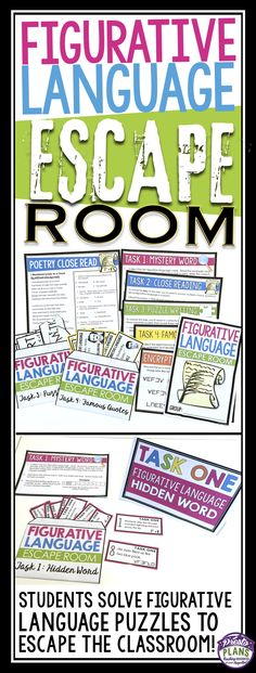 FIGURATIVE LANGUAGE ESCAPE ROOM ACTIVITY: Help your students understand figurative language with this highly-engaging interactive escape room / break out activity! The activity focusses on the following terms: metaphor, simile, alliteration, personification, onomatopoeia, hyperbole, oxymoron, pun, idiom, and allusion.