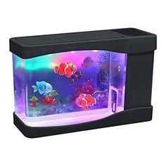 Lightahead® Artificial Fish MINI (9 X 4.8 x 3.5 Inches) Led Aquarium Multi Colored Led Swimming Fish Tank with Bubbles.