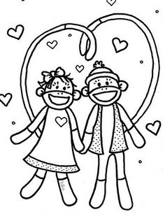 sock monkey coloring page - sock monkey business fanciful fashions coloring book