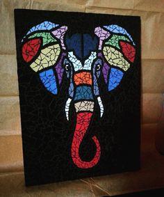 Mosaic elephant Mosaic Tile Art, Mosaic Artwork, Mosaic Glass, Stained Glass Patterns, Mosaic Patterns, Mosaic Projects, Art Projects, Geometric Deer, Afrique Art