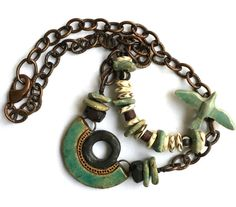 SOLD/RESERVED Turquoise Copper Bird Necklace Bone por SheFliesAgain