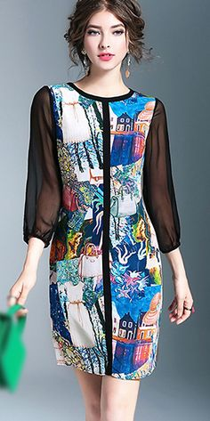 Brief O-Neck 3/4 Sleeve Print Mini Shift Dress