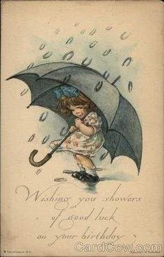 Birthday Wishes with Girl holding Umbrella Edward Gross Co Divided Back Postcard