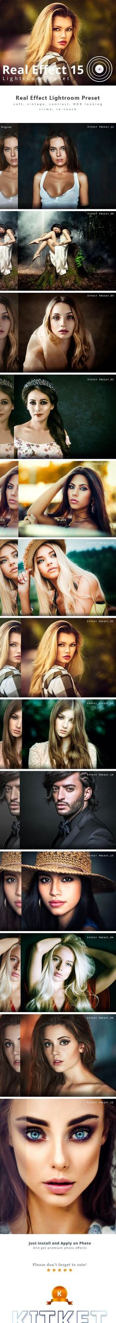 Real Effect 15 Photography Lightroom Preset — LRTemplate #photographer #portrait effect • Available here → graphicriver.net/...